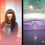 洋式トイレ便器内前方アングル&上半身の2カメ盗撮①