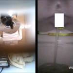 大学洋式トイレ便器内&天井からの2カメ盗撮①