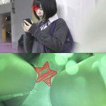 【電車痴漢】顔出し制服JK★パンティ内を刺激しまくり!★大量のお漏らし